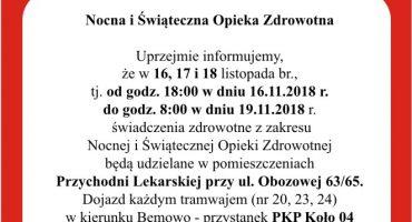 Nocna i Świąteczna Opieka Zdrowotna w dniach 16.11-19.11 przeniesiona z Leszna 17